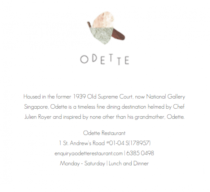 Odette Restaurant at National Gallery Singapore